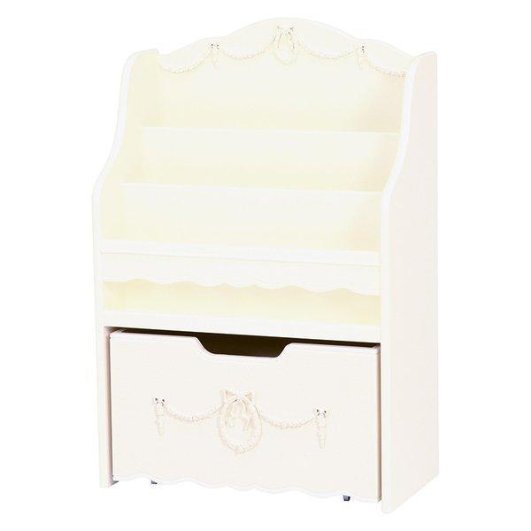 絵本ラック(ブックスタンド/子供部屋家具) 幅60cm 木製 引き出し収納付き RCC-1858WH ホワイト(白)