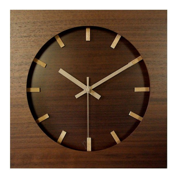 ウォールナット クロック スイープムーブメント V-088(掛け時計 木製 音がしない 壁掛け時計 連続秒針)|zakka-nekoya|02
