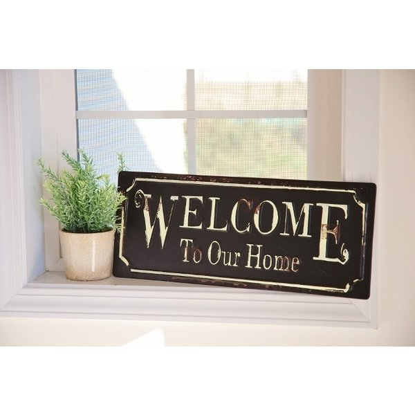 アンティーク調ティンプレートボード 「Welcome To Our Home」ウェルカム  ブリキ看板|zakka-olive