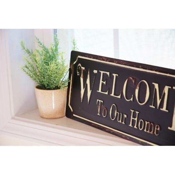 アンティーク調ティンプレートボード 「Welcome To Our Home」ウェルカム  ブリキ看板|zakka-olive|02