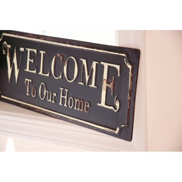 アンティーク調ティンプレートボード 「Welcome To Our Home」ウェルカム  ブリキ看板|zakka-olive|03