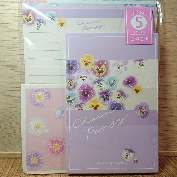 5柄入り レターセット(チャーム パンジー)202627/お手紙セット 花柄 可愛いレター ボリュームレター