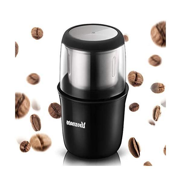 コーヒーミル 電動 電動ミル コーヒーグラインダー 小型 10秒急速挽く 水洗い可能 掃除用ブラシ付き日本語取扱説明書あり|zakka-viento|07