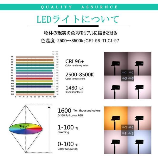 BOLING BL-P1 LEDビデオライト 2500k?8500k 0〜360°フルカラー 彩度調整 明るさ調整 0?100% 140分の zakka-viento 13