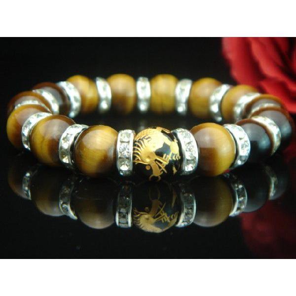 高級AAAランク12ミリ天然石/パワーストーン数珠/ブレスレット【手彫り金オニキス龍・タイガーアイ×RD】3015b