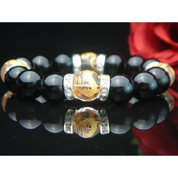 高級AAAランク12ミリ天然石/パワーストーン数珠/ブレスレット【手彫り金風水四神獣クリスタル・オニキス×RD】3074d