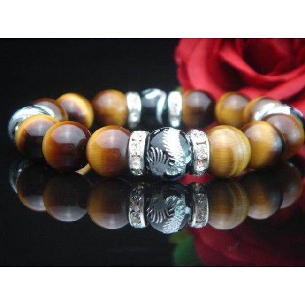 高級AAAランク12ミリ天然石/パワーストーン数珠/ブレスレット【手彫り銀風水四神獣オニキス・タイガーアイ×RD】3075c