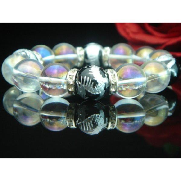 高級AAAランク14ミリ天然石/パワーストーン数珠/ブレスレット【手彫り銀風水四神獣オニキス・アクアオーラ】4014i