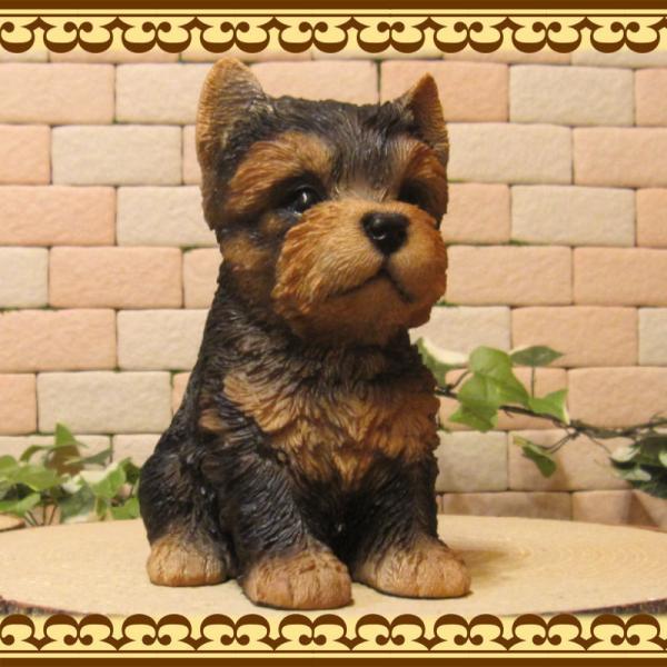犬の置物 ヨークシャーテリア  ヨーキー お座りタイプ リアルな子いぬのフィギア イヌのオブジェ 動物オブジェ ガーデンオーナメント 装飾 フィギュア zakkakirara 03