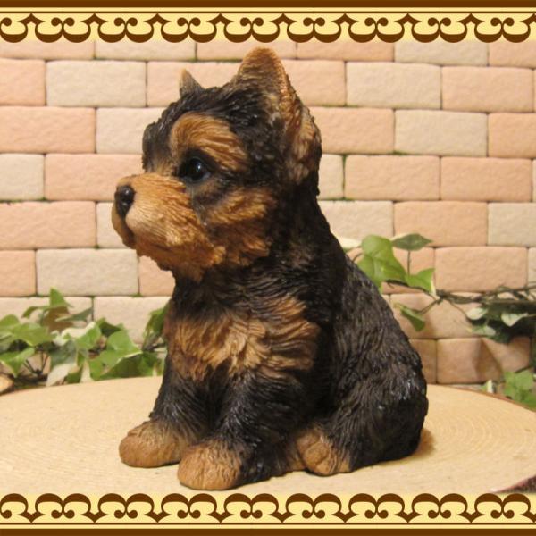 犬の置物 ヨークシャーテリア  ヨーキー お座りタイプ リアルな子いぬのフィギア イヌのオブジェ 動物オブジェ ガーデンオーナメント 装飾 フィギュア zakkakirara 06