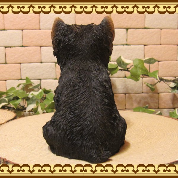 犬の置物 ヨークシャーテリア  ヨーキー お座りタイプ リアルな子いぬのフィギア イヌのオブジェ 動物オブジェ ガーデンオーナメント 装飾 フィギュア zakkakirara 09