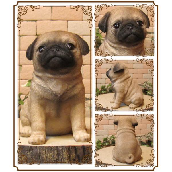 犬の置物 パグ リアルな犬の置物 お座りタイプ 子いぬのフィギア イヌのオブジェ ガーデニング 玄関先 陶器 zakkakirara 02