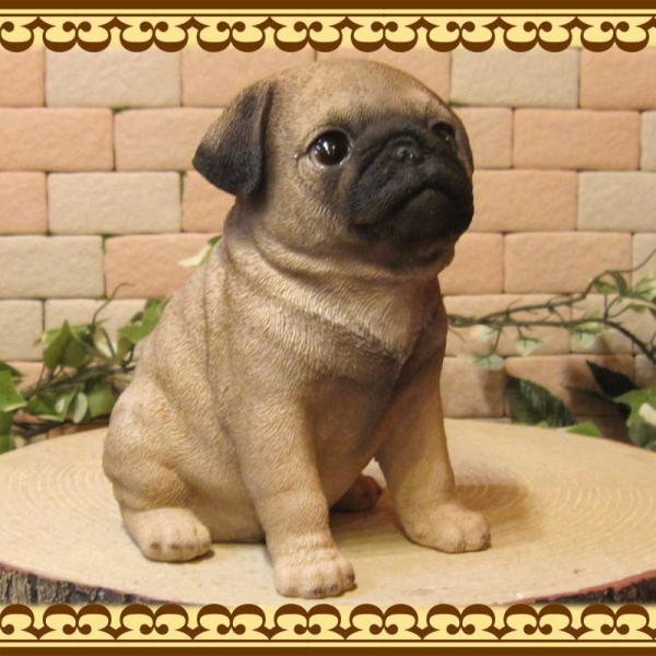 犬の置物 パグ リアルな犬の置物 お座りタイプ 子いぬのフィギア イヌのオブジェ ガーデニング 玄関先 陶器 zakkakirara 03