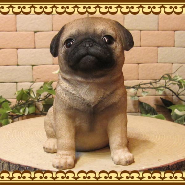 犬の置物 パグ リアルな犬の置物 お座りタイプ 子いぬのフィギア イヌのオブジェ ガーデニング 玄関先 陶器 zakkakirara 04