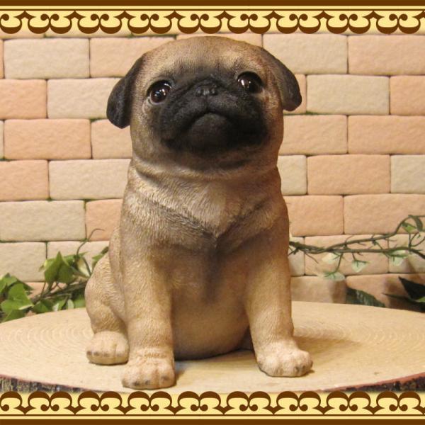 犬の置物 パグ リアルな犬の置物 お座りタイプ 子いぬのフィギア イヌのオブジェ ガーデニング 玄関先 陶器 zakkakirara 06