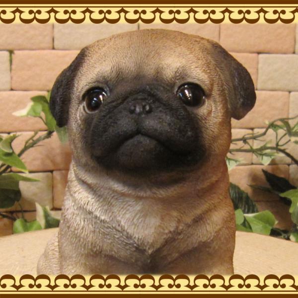 犬の置物 パグ リアルな犬の置物 お座りタイプ 子いぬのフィギア イヌのオブジェ ガーデニング 玄関先 陶器 zakkakirara 08