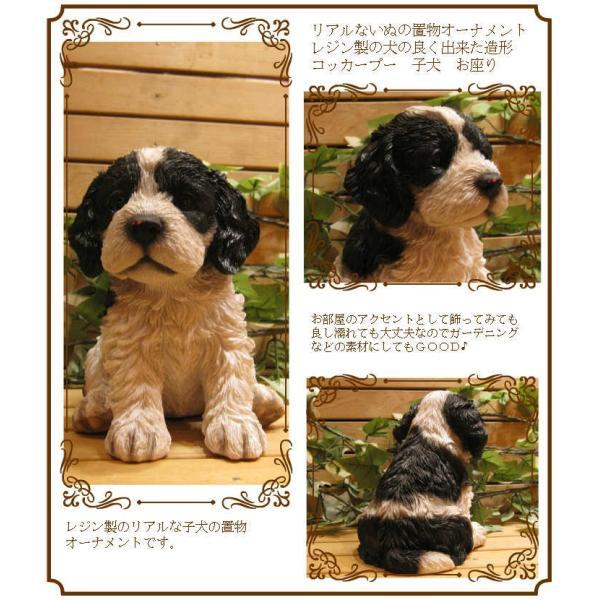 犬の置物 リアルな犬の置物 コッカースパニエルとプードルのMIX コッカープー B&W 子いぬのフィギア イヌのオブジェ ガーデニング 玄関先 陶器|zakkakirara|02