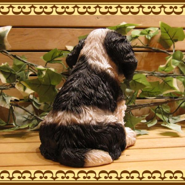 犬の置物 リアルな犬の置物 コッカースパニエルとプードルのMIX コッカープー B&W 子いぬのフィギア イヌのオブジェ ガーデニング 玄関先 陶器|zakkakirara|07