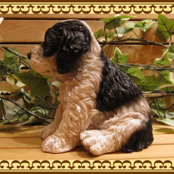 犬の置物 リアルな犬の置物 コッカースパニエルとプードルのMIX コッカープー B&W 子いぬのフィギア イヌのオブジェ ガーデニング 玄関先 陶器|zakkakirara|08