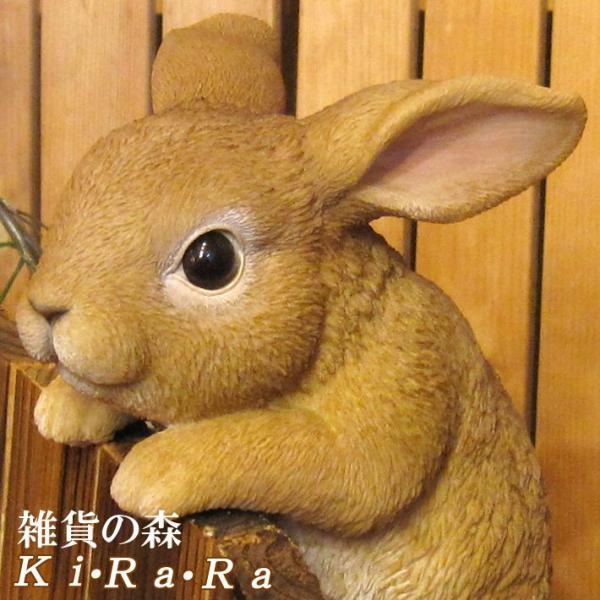 ウサギの置物 ぶらさがりラビット リアルな うさぎのフィギア バニーオブジェ ガーデニング 玄関先 陶器