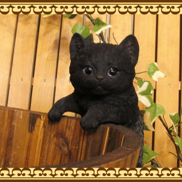猫の置物 リアルな猫の置物 ぶらさがりベビーキャット 黒ねこ 子ねこのフィギア ネコのオブジェ ガーデニング 玄関先 陶器 クロネコ|zakkakirara|03