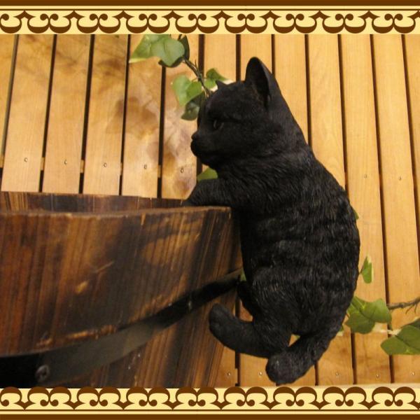 猫の置物 リアルな猫の置物 ぶらさがりベビーキャット 黒ねこ 子ねこのフィギア ネコのオブジェ ガーデニング 玄関先 陶器 クロネコ|zakkakirara|05