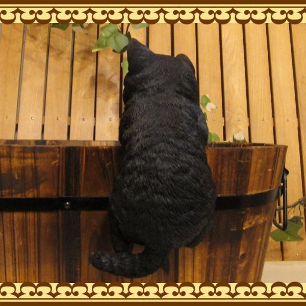 猫の置物 リアルな猫の置物 ぶらさがりベビーキャット 黒ねこ 子ねこのフィギア ネコのオブジェ ガーデニング 玄関先 陶器 クロネコ|zakkakirara|06
