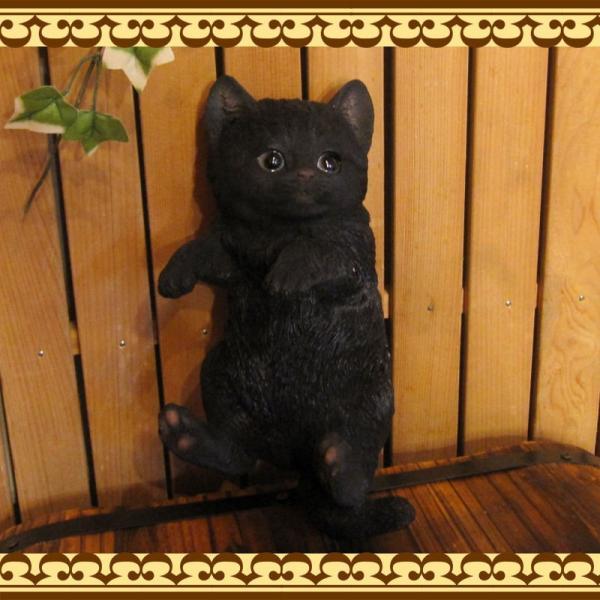 猫の置物 リアルな猫の置物 ぶらさがりベビーキャット 黒ねこ 子ねこのフィギア ネコのオブジェ ガーデニング 玄関先 陶器 クロネコ|zakkakirara|10