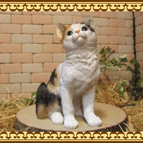 猫の置物 リアル 三毛猫の置物 癒し ミケネコ ネコのフィギア ねこのオブジェ キャット ガーデニング 玄関先 陶器 zakkakirara 03