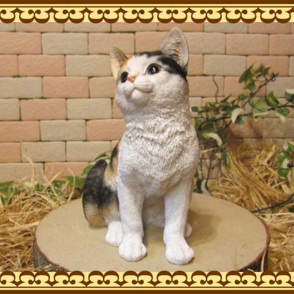 猫の置物 リアル 三毛猫の置物 癒し ミケネコ ネコのフィギア ねこのオブジェ キャット ガーデニング 玄関先 陶器 zakkakirara 05