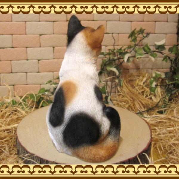 猫の置物 リアル 三毛猫の置物 癒し ミケネコ ネコのフィギア ねこのオブジェ キャット ガーデニング 玄関先 陶器 zakkakirara 09