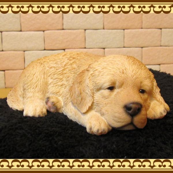 犬の置物 ゴールデンレトリバー リアルな犬の置物 ウトウト・ねむねむ 子いぬのフィギア イヌのオブジェ ガーデニング 玄関先 陶器 zakkakirara 03