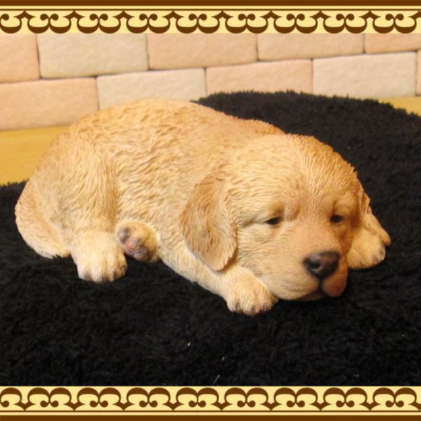 犬の置物 ゴールデンレトリバー リアルな犬の置物 ウトウト・ねむねむ 子いぬのフィギア イヌのオブジェ ガーデニング 玄関先 陶器 zakkakirara 04