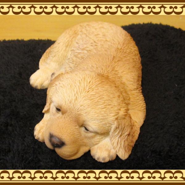犬の置物 ゴールデンレトリバー リアルな犬の置物 ウトウト・ねむねむ 子いぬのフィギア イヌのオブジェ ガーデニング 玄関先 陶器 zakkakirara 06