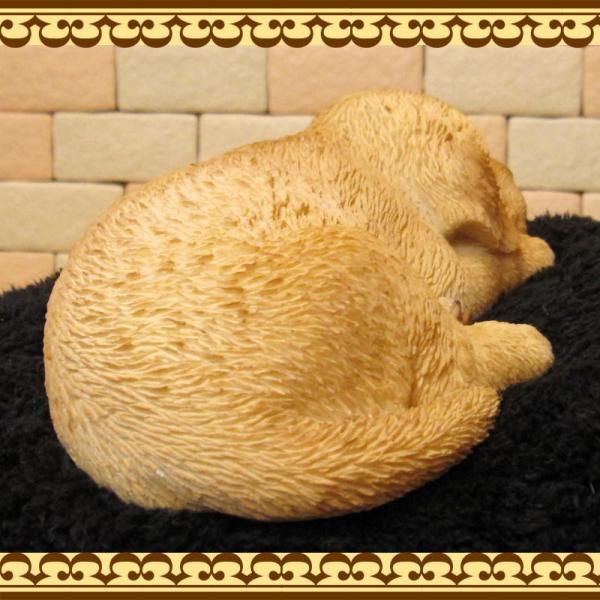 犬の置物 ゴールデンレトリバー リアルな犬の置物 ウトウト・ねむねむ 子いぬのフィギア イヌのオブジェ ガーデニング 玄関先 陶器 zakkakirara 08