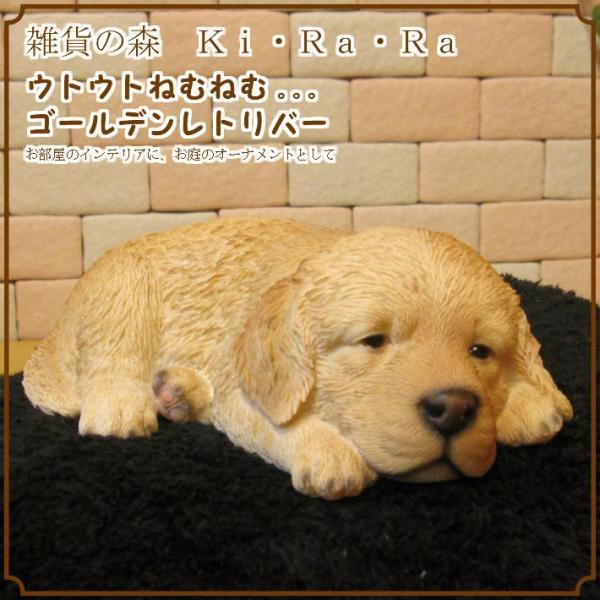 犬の置物 ゴールデンレトリバー リアルな犬の置物 ウトウト・ねむねむ 子いぬのフィギア イヌのオブジェ ガーデニング 玄関先 陶器 zakkakirara 09