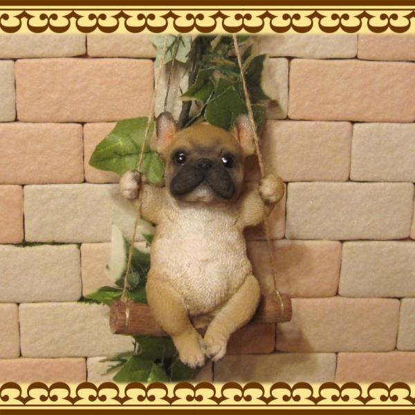 犬の置物 フレンチブルドッグ リアルな犬の置物 ブランコドッグ Bタイプ フレブル 子いぬのフィギア イヌのオブジェ ガーデニング 玄関先 陶器|zakkakirara|03