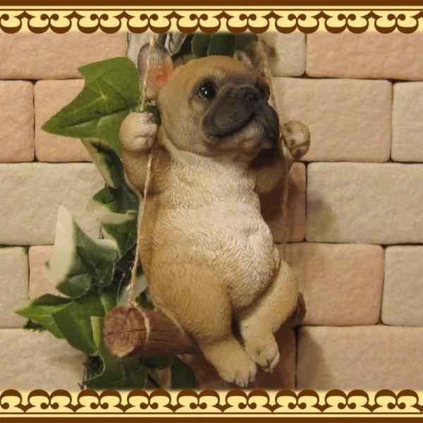 犬の置物 フレンチブルドッグ リアルな犬の置物 ブランコドッグ Bタイプ フレブル 子いぬのフィギア イヌのオブジェ ガーデニング 玄関先 陶器|zakkakirara|04