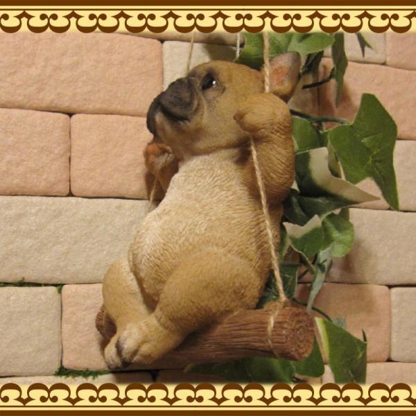 犬の置物 フレンチブルドッグ リアルな犬の置物 ブランコドッグ Bタイプ フレブル 子いぬのフィギア イヌのオブジェ ガーデニング 玄関先 陶器|zakkakirara|05
