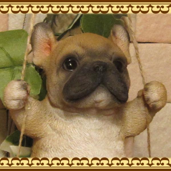 犬の置物 フレンチブルドッグ リアルな犬の置物 ブランコドッグ Bタイプ フレブル 子いぬのフィギア イヌのオブジェ ガーデニング 玄関先 陶器|zakkakirara|06
