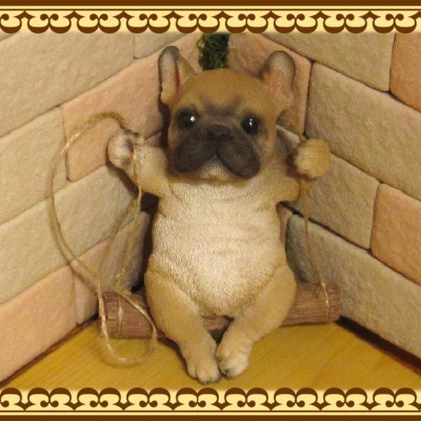 犬の置物 フレンチブルドッグ リアルな犬の置物 ブランコドッグ Bタイプ フレブル 子いぬのフィギア イヌのオブジェ ガーデニング 玄関先 陶器|zakkakirara|08
