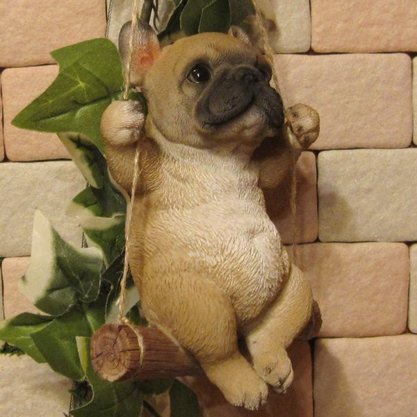 犬の置物 フレンチブルドッグ リアルな犬の置物 ブランコドッグ Bタイプ フレブル 子いぬのフィギア イヌのオブジェ ガーデニング 玄関先 陶器|zakkakirara|09