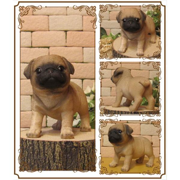 犬の置物 パグ スタンド スモールサイズ リアルな犬の置物 子いぬのフィギア イヌのオブジェ ガーデニング 玄関先 陶器 zakkakirara 02