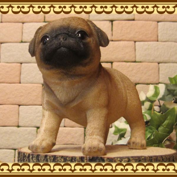 犬の置物 パグ スタンド スモールサイズ リアルな犬の置物 子いぬのフィギア イヌのオブジェ ガーデニング 玄関先 陶器 zakkakirara 03