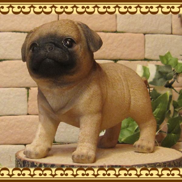 犬の置物 パグ スタンド スモールサイズ リアルな犬の置物 子いぬのフィギア イヌのオブジェ ガーデニング 玄関先 陶器 zakkakirara 04