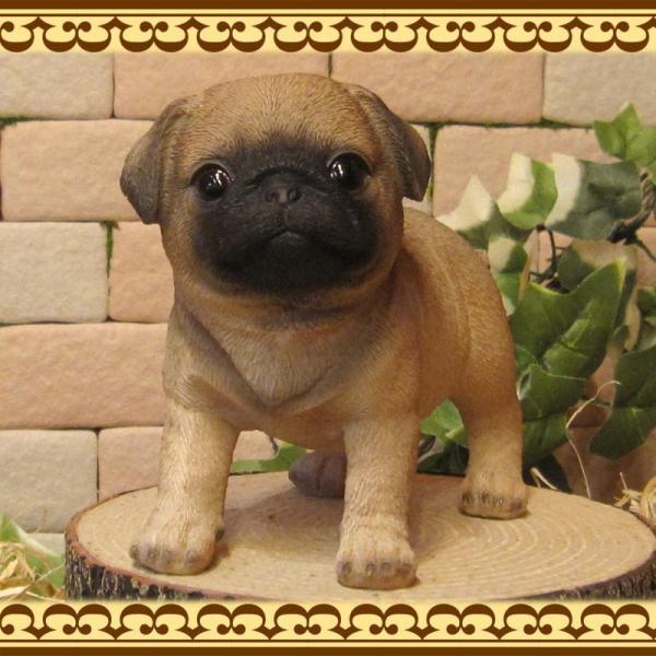犬の置物 パグ スタンド スモールサイズ リアルな犬の置物 子いぬのフィギア イヌのオブジェ ガーデニング 玄関先 陶器 zakkakirara 05
