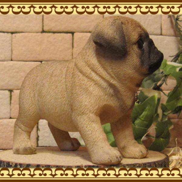 犬の置物 パグ スタンド スモールサイズ リアルな犬の置物 子いぬのフィギア イヌのオブジェ ガーデニング 玄関先 陶器 zakkakirara 06