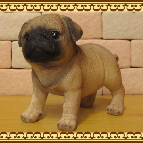 犬の置物 パグ スタンド スモールサイズ リアルな犬の置物 子いぬのフィギア イヌのオブジェ ガーデニング 玄関先 陶器 zakkakirara 08