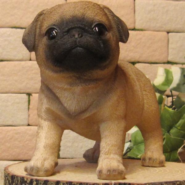 犬の置物 パグ スタンド スモールサイズ リアルな犬の置物 子いぬのフィギア イヌのオブジェ ガーデニング 玄関先 陶器 zakkakirara 09