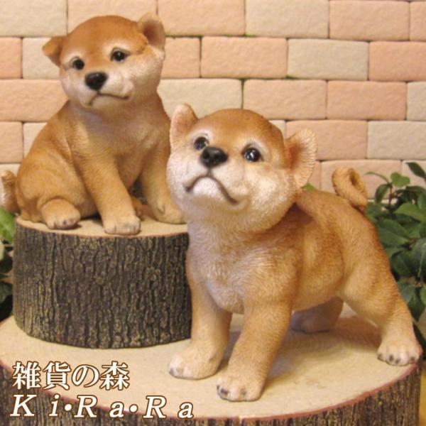 犬の置物 秋田犬 柴犬 日本犬2体セット リアルな犬の置物 豆しば 子いぬのフィギア イヌのオブジェ ガーデニング 玄関先 陶器